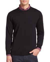 Saks Fifth Avenue - Black Merino Wool Crewneck Sweater for Men - Lyst