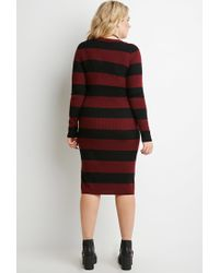 Forever 21 - Purple Plus Size Striped Rib Sweater Dress - Lyst
