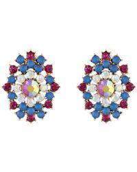 Betsey Johnson | Multicolored Stone Cluster Drop Post Earrings | Lyst