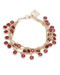 Anne Klein | Red 3-row Faux Gem Shaky-drop Bracelet | Lyst