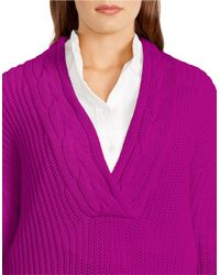 Lauren by Ralph Lauren | Purple Plus Ribbed Cotton Sweater | Lyst