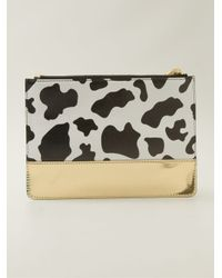 Moschino - White Cow Print Clutch - Lyst