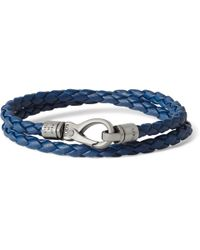 Tod's | Blue Woven-Leather Wrap Bracelet for Men | Lyst