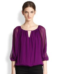 Alice + Olivia | Purple Tama Draped Silk Keyhole Blouse | Lyst