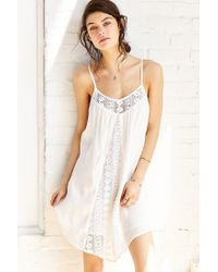 Band Of Gypsies | White Gauzy Crochet-inset Frock Dress | Lyst