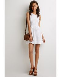 7ed7153d7b Forever 21. Women s Natural Eyelet Fit   Flare Dress You ve Been Added To  The Waitlist