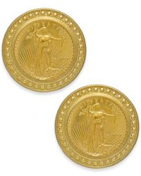 Macy's | Yellow Genuine Us Eagle Coin Earrings In 22k And 14k Gold | Lyst