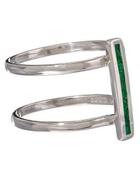 Anna Sheffield | Metallic Silver Pave Emerald Licol Ring | Lyst