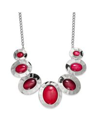 Style & Co. | Purple Silvertone Berry Stone Hammered Oval Frontal Necklace | Lyst