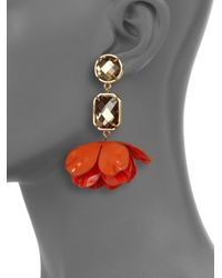 Tory Burch | Orange Pentier Flower Petal Clipon Drop Earrings | Lyst