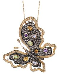 Le Vian | Metallic Multi-Stone (2-9/10 Ct. T.W.) And Diamond (3/8 Ct. T.W.) Butterfly Pendant Necklace In 14K Gold | Lyst