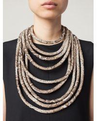 Giorgio Armani | Metallic Python Print Tube Necklace | Lyst