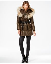 Rudsak | Brown Sofia Coyote-fur-trim Leather-belt Puffer Coat | Lyst