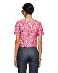Kate Spade | Pink Rose Brocade Lummi Top | Lyst