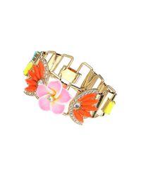 TOPSHOP | Multicolor Pink Flower Link Bracelet | Lyst