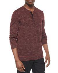 Vince - Purple Wool-blend Long-sleeve Henley Tee - Lyst