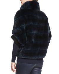 St. John - Blue Striped Rabbit Fur Zip Jacket - Lyst