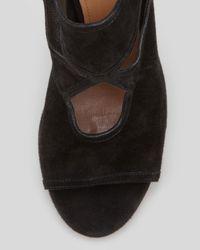 Aquazzura - Suede Tieback Sandal Black - Lyst