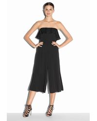 MILLY | Black Stretch Silk Crepe Athena Jumpsuit | Lyst