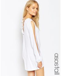 ASOS | White Tall Swing Dress With Split Sleeve And Lace Up Back | Lyst