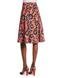 Carolina Herrera - Orange Floral-print A-line Party Skirt - Lyst