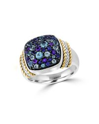 Effy | Purple Semi-precious, Multi-stone Sterling Silver And 18k Yellow Gold Ring | Lyst