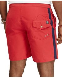 Polo Ralph Lauren | Red Big And Tall Palm Island Varsity Swim Trunks for Men | Lyst