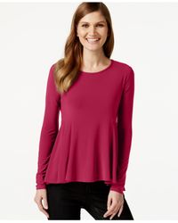 Cece by Cynthia Steffe | Purple Long-sleeve Peplum Top | Lyst