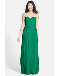 Donna Morgan | Green 'laura' Ruched Sweetheart Silk Chiffon Gown | Lyst