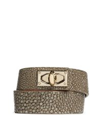 Givenchy - Metallic Shark Tooth Double Wrap Stingray Leather Bracelet - Lyst
