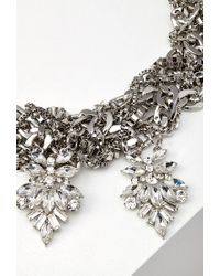 Forever 21 | Metallic Layered Rhinestone Statement Necklace | Lyst