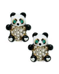 Juicy Couture - Black Gold-tone Panda Bear Stud Earrings - Lyst
