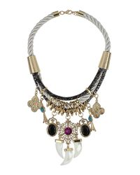 TOPSHOP | Multicolor Triple Tusk Embellished Cord Necklace | Lyst