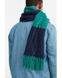Urban Outfitters | Blue Colorblock Cable Knit Scarf for Men | Lyst