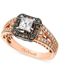 Le Vian | Brown Chocolate Diamond (1-1/10 Ct. T.w) And White Diamond (7/8 Ct. T.w.) Engagement Ring In 14k Rose Gold | Lyst