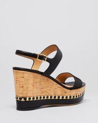 Ferragamo - Natural Open Toe Platform Wedge Sandals - Mollie Logo Chain - Lyst