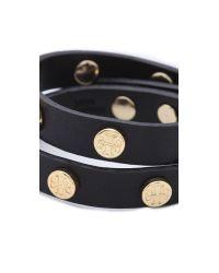 Tory Burch | Double Wrap Logo Bracelet - Black | Lyst