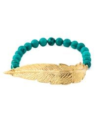 Leivan Kash | Green Beaded Feather Bracelet | Lyst