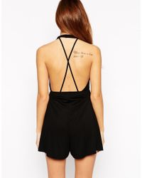 ASOS | Red Petite Barely There Playsuit With Sexy Strap Detail | Lyst