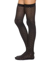 Free People | Black Open Knit Thigh Highs - Cobalt | Lyst