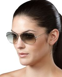 Ray-Ban | Black Aviator Sunglasses Silver | Lyst