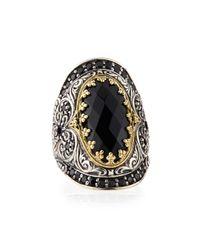 Konstantino | Black Silver & 18k Gold Spinel Oval Ring | Lyst