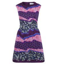 Peter Pilotto | Purple Printed Silk Chiffon-paneled Crepe Dress | Lyst