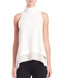 Elizabeth and James | White Everly Turtleneck Silk Top | Lyst