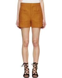 Chloé - Orange Ochre Woven Rustic Shorts - Lyst