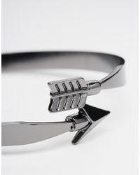 ASOS | Metallic Arrow Wrap Bangle In Gunmetal for Men | Lyst