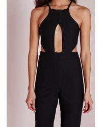 Missguided | Keyhole Cut Out Waist Jumpsuit Black | Lyst