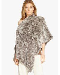 Halston - Gray Convertible Fur Poncho - Lyst