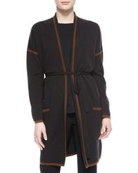Max Mara - Black Cashmere-blend Contrast Trimmed Wrap Cardigan - Lyst