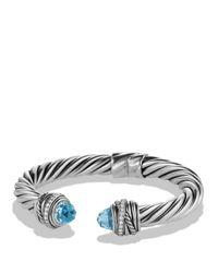 David Yurman | Metallic Crossover Bracelet With Blue Topaz & Diamonds | Lyst